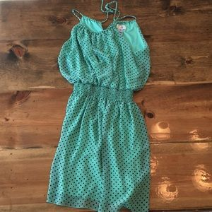 Light green and black polka dotted dress